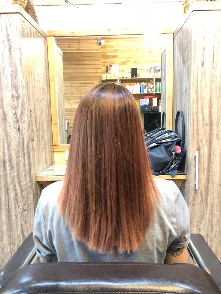 Chemically straightened hair